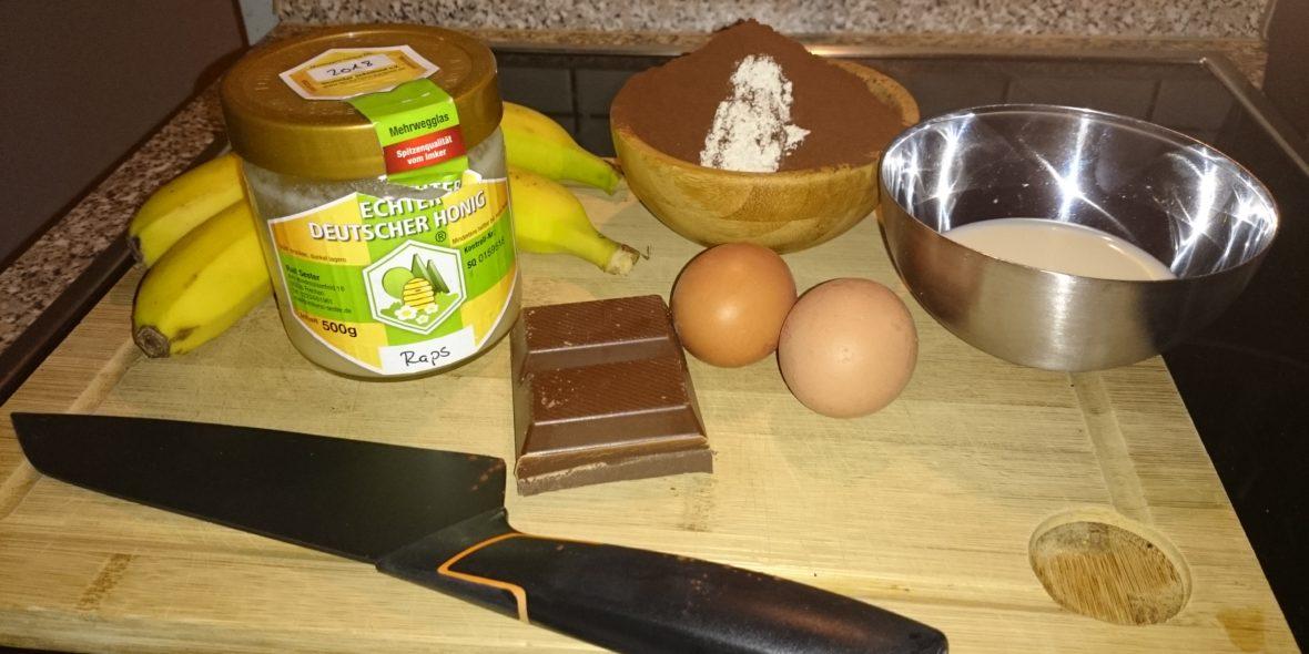 Zutaten für das Schokoladen-Bananenbrot