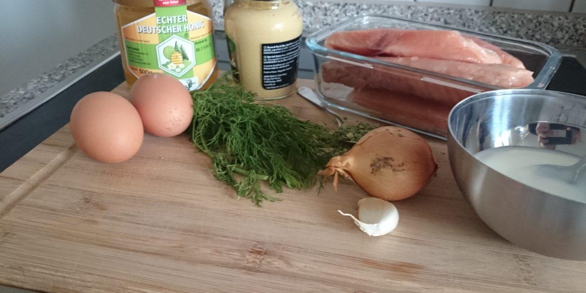 Zutaten für den Lachsburger mit Honig-Dill-Sauce.